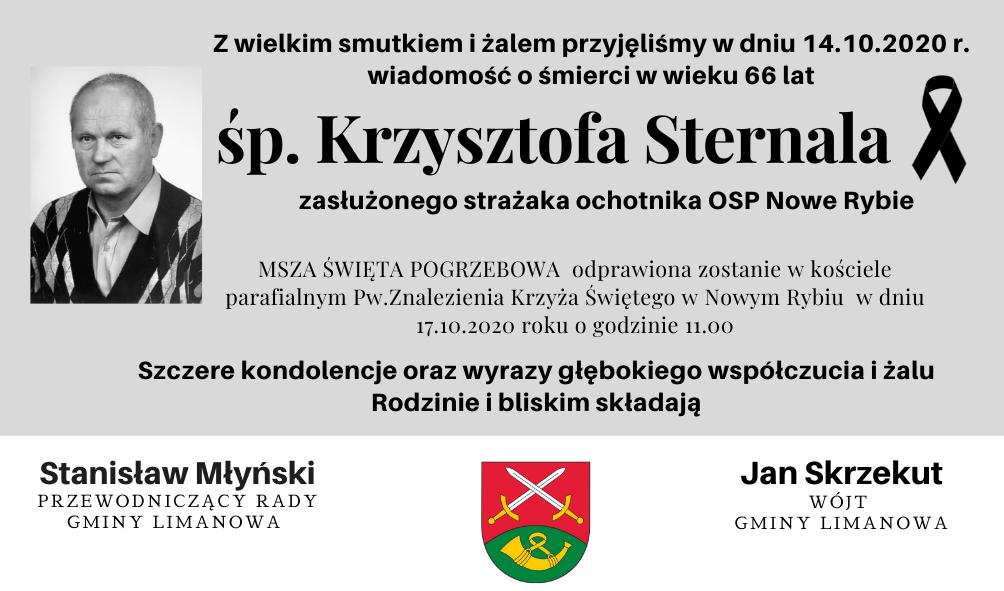 Kondolencje z powodu śmierci Krzysztofa Sternala - zdjęcie główne