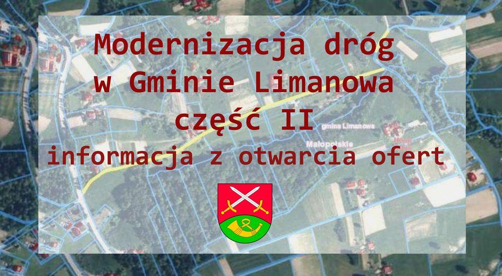 Modernizacja dróg w Gminie Limanowa część II – informacja z otwarcia ofert - zdjęcie główne
