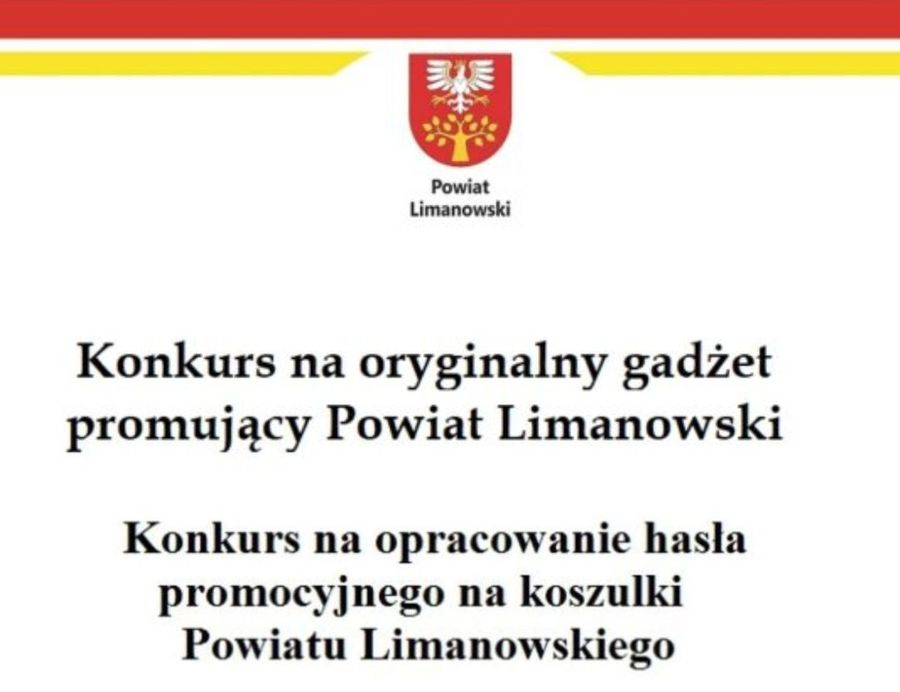 Konkurs na gadżet promocyjny i hasło na koszulki Powiatu Limanowskiego - zdjęcie główne