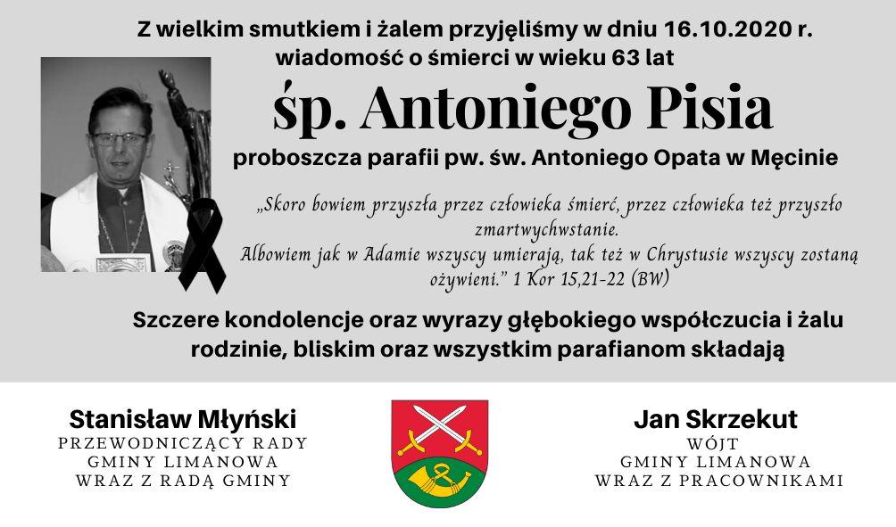 Kondolencje z powodu śmierci proboszcza Antoniego Pisia - zdjęcie główne