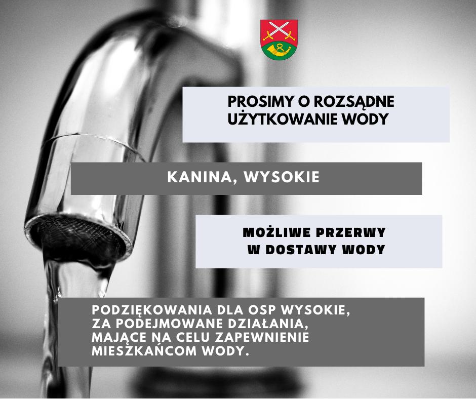 Prośba o racjonalne użytkowanie wodu w Kaninie i Wysokiem - zdjęcie główne