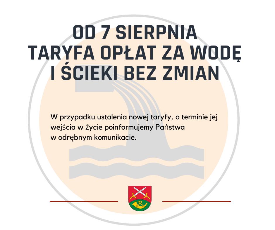 Opłata za wodę i ścieki od dnia 7.08.2021r. bez zmian - zdjęcie główne