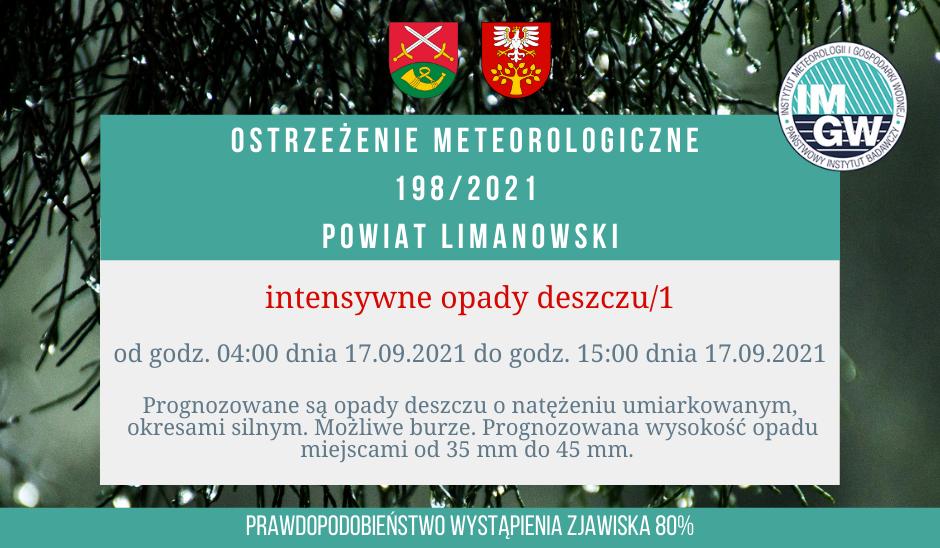 Ostrzeżenie meteorologiczne 198/2021 - intensywne opady deszczu/1 - zdjęcie główne