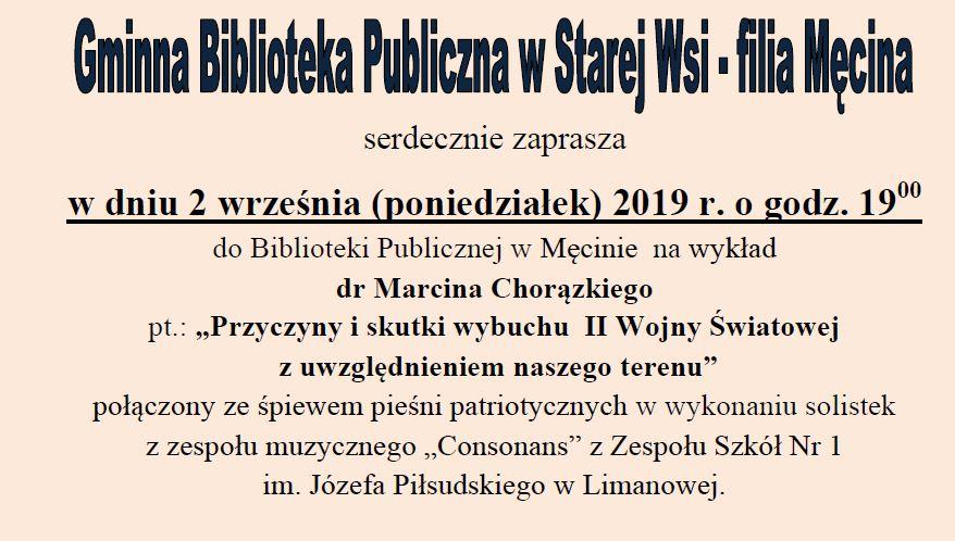 Wykład dr Marcina Chorązkiego  w bibliotece w Męcinie - zdjęcie główne