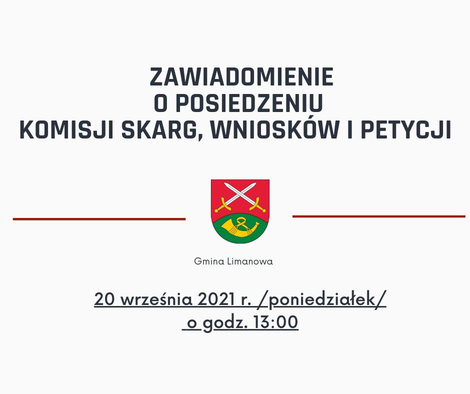 Posiedzenie Komisji Skarg , Wniosków i Petycji Rady Gminy Limanowa w dniu 20 września 2021 - zdjęcie główne