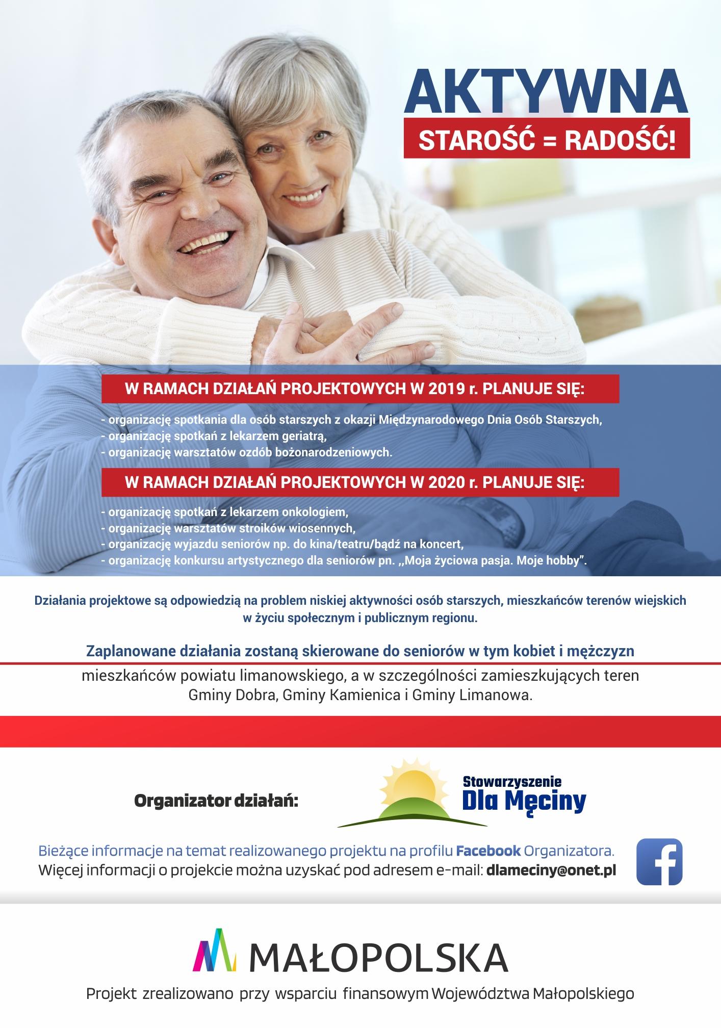 Aktywna starość = radość! - Stowarzyszenie Dla Męciny z myślą o seniorach - zdjęcie główne