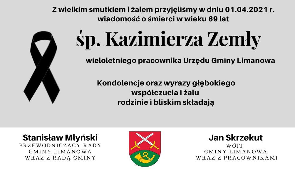 Kondolencje z powodu śmierci Kazimierza Zemły - zdjęcie główne