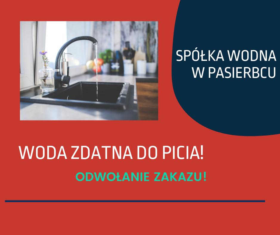 Woda z wodociągu w Pasierbcu zdatna do picia! Odwołanie zakazu! - zdjęcie główne