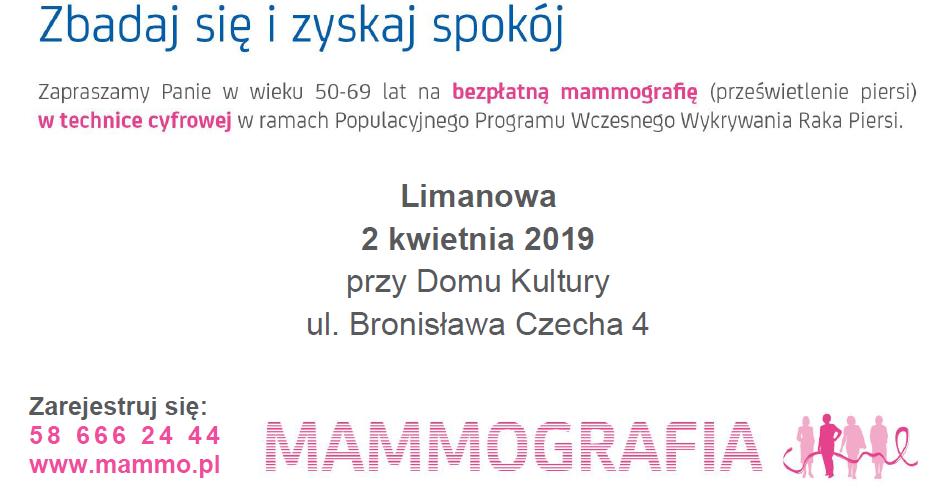 Zaproszenie na bezpłatne badania mammograficzne w technice cyfrowej - zdjęcie główne