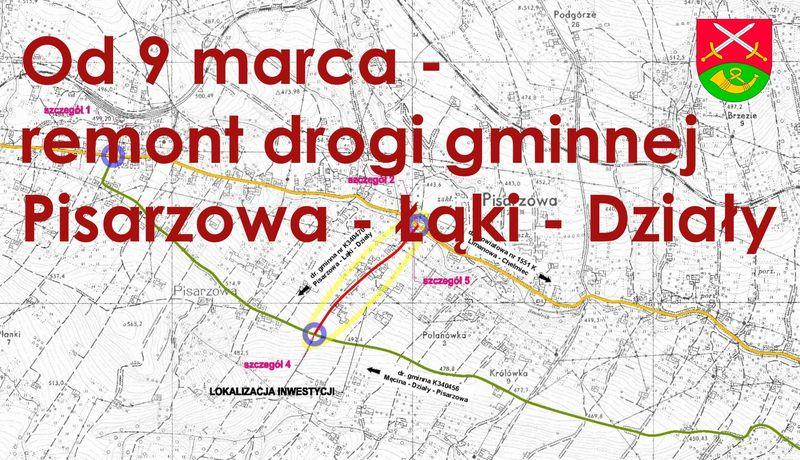 Od 9 marca remont drogi Pisarzowa- Łąki -Działy - zdjęcie główne