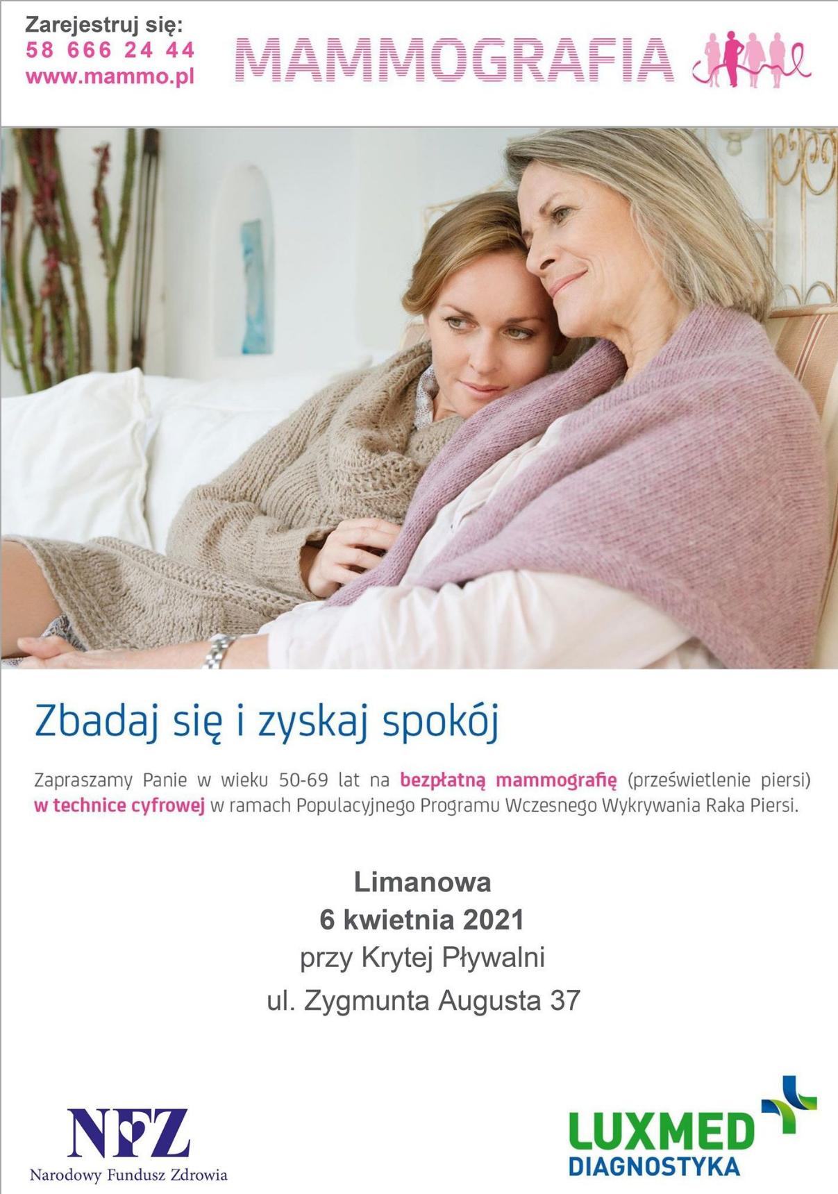 Bezpłatne badania mammograficzne w Limanowej - zdjęcie główne