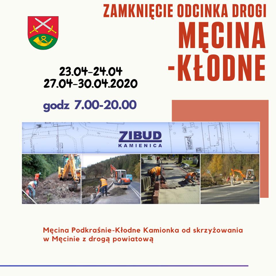 UWAGA - zamknięcie drogi Męcina Podkraśnie – Kłodne Kamionka - zdjęcie główne