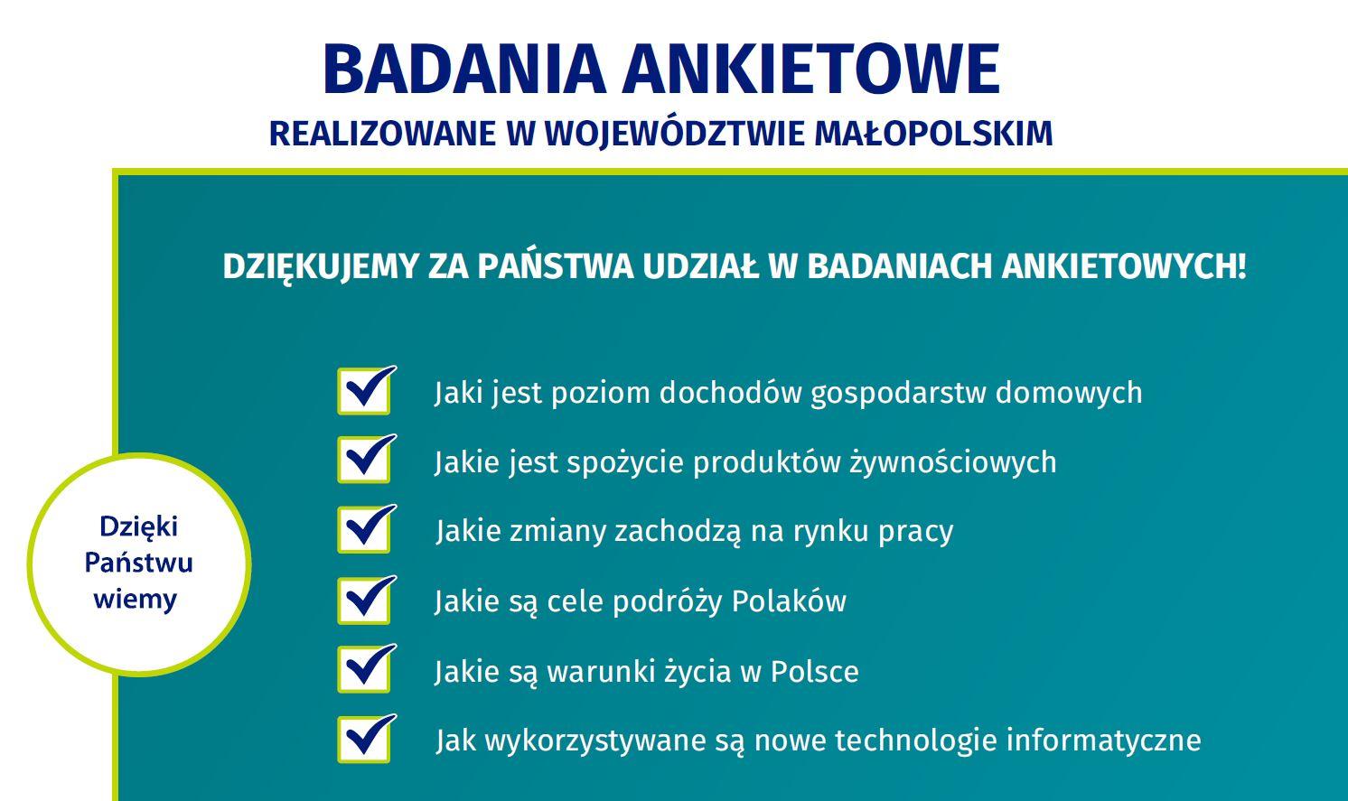 Badania ankietowe Urzędu Statystycznego w Małopolsce w 2020 roku - zdjęcie główne