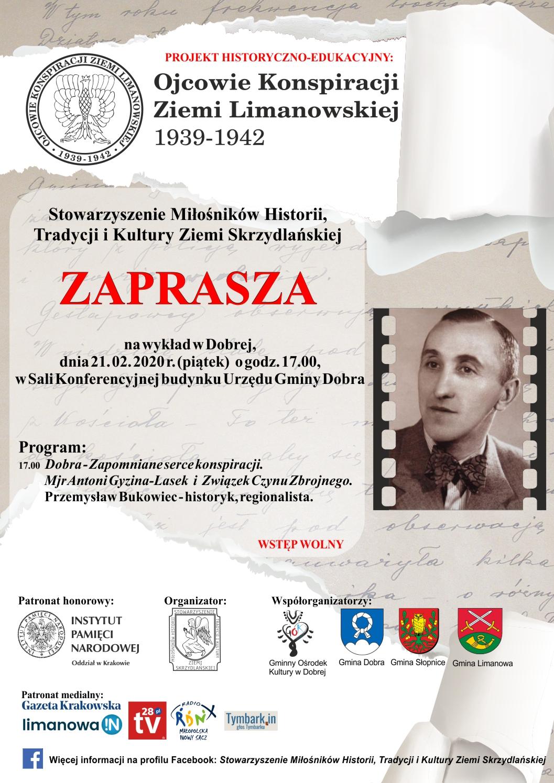 """Projekt """"Ojcowie konspiracji Ziemi Limanowskiej 1939-1942"""" - 21 lutego wykład w Dobrej - zdjęcie główne"""