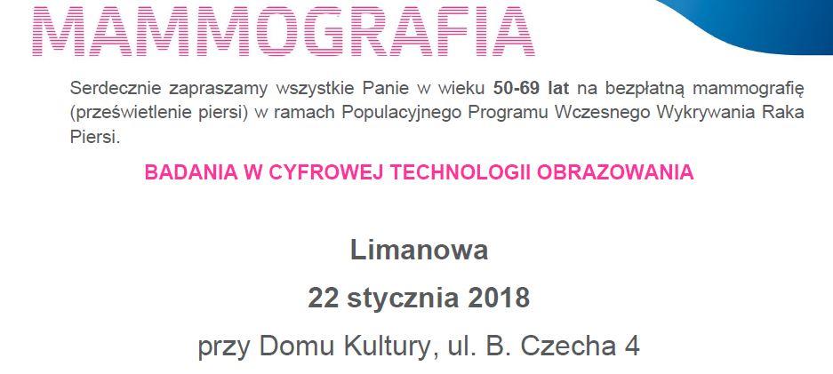 Bezpłatne badania mammograficzne - 22 stycznia w Limanowej - zdjęcie główne