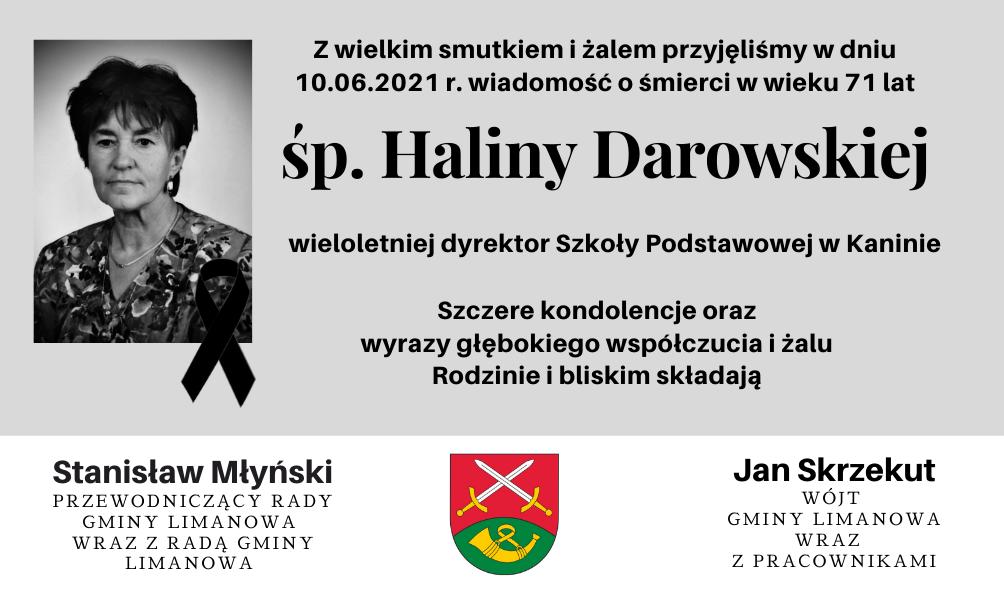 Kondolencje z powodu śmierci Haliny Darowskiej - zdjęcie główne