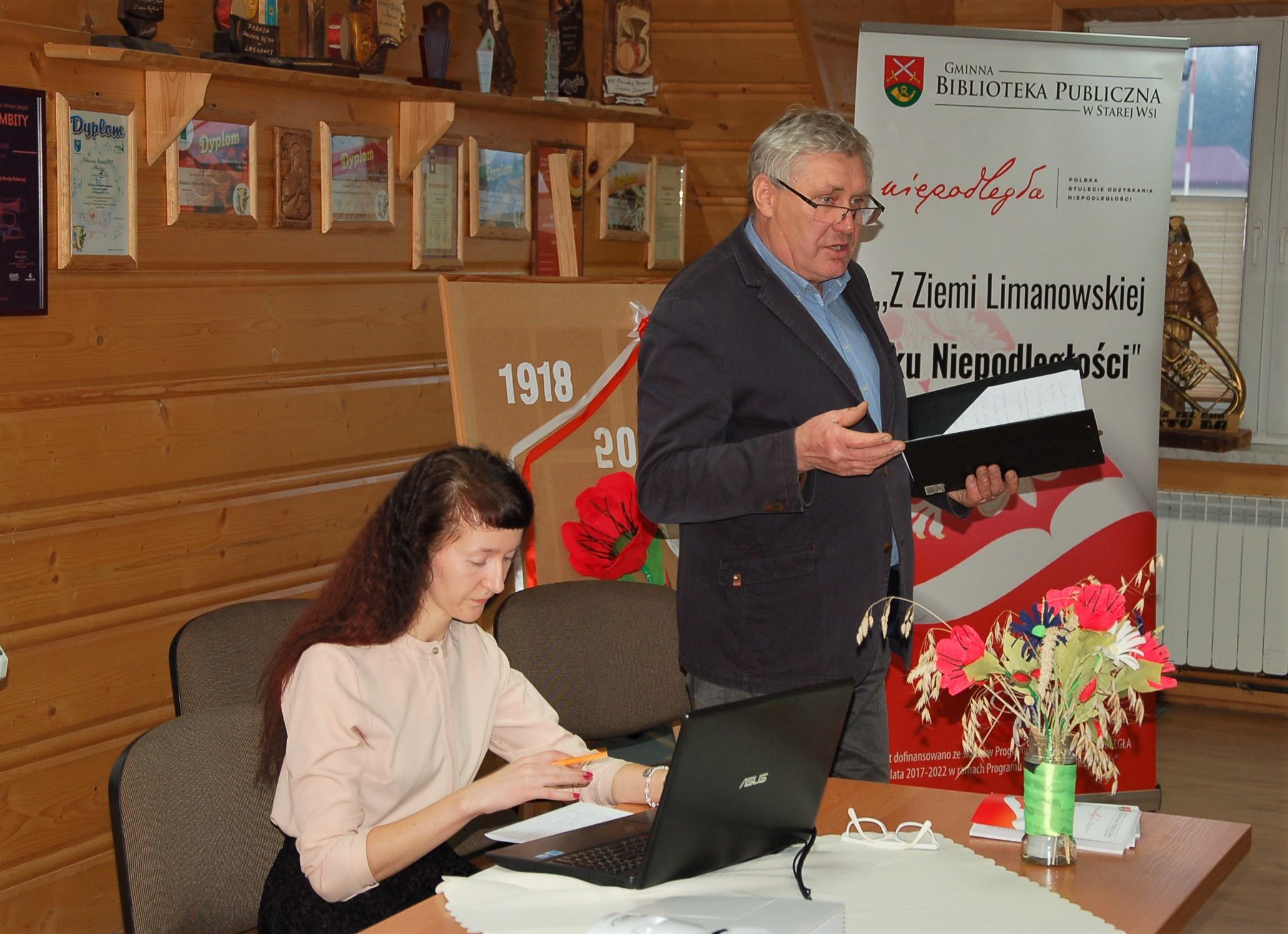 """Podsumowanie projektu """"Z Ziemi Limanowskiej ku Niepodległości"""" w bibliotece w Męcinie - zdjęcie główne"""