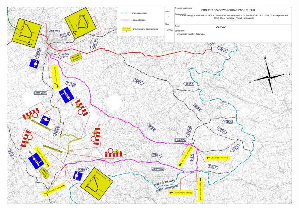 Zamknięcie drogi powiatowej nr 1609 K relacji Limanowa- Kamienica - zdjęcie główne