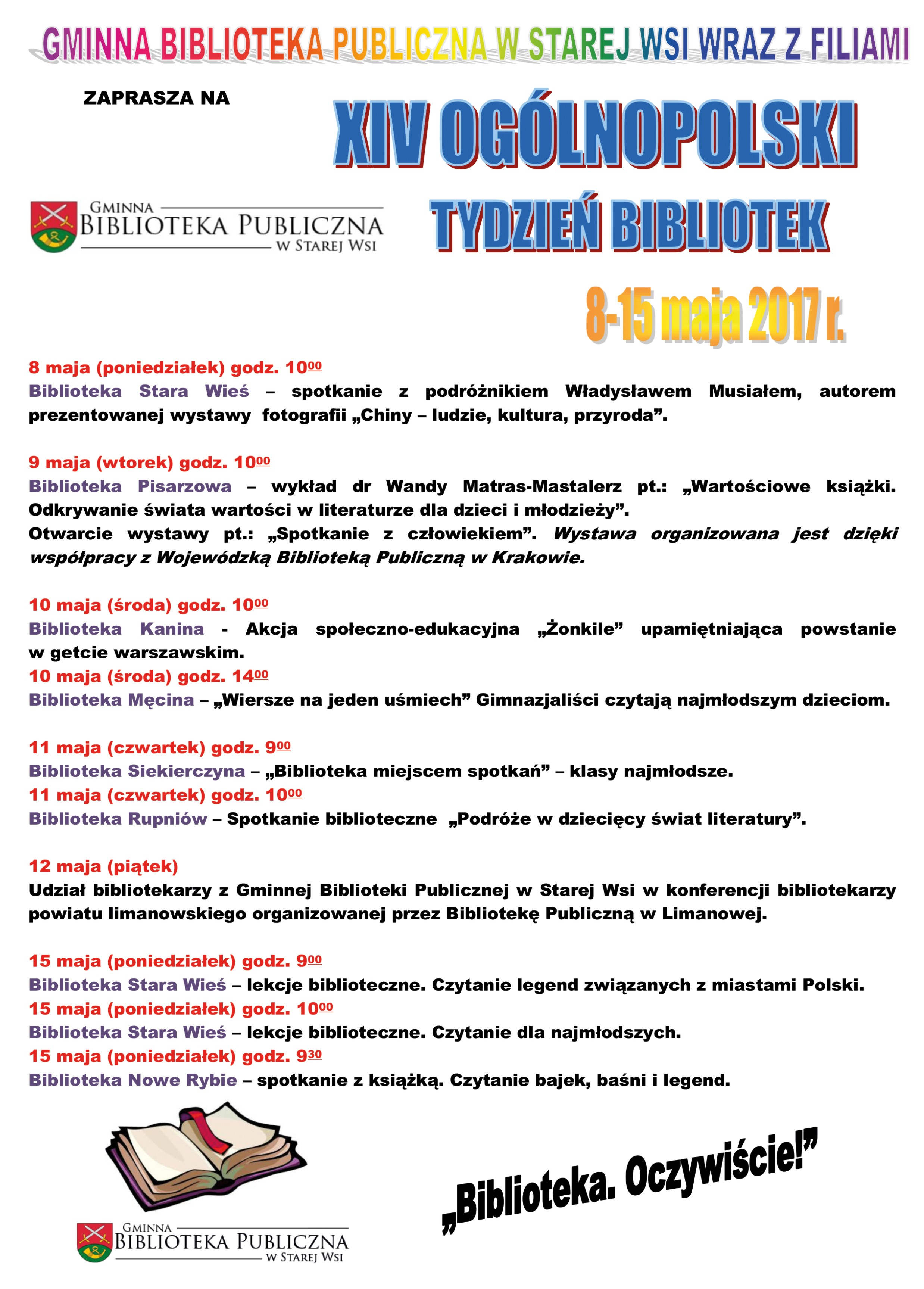 Tydzień Bibliotek w gminie Limanowa – XIV edycja: Biblioteka. Oczywiście! - zdjęcie główne