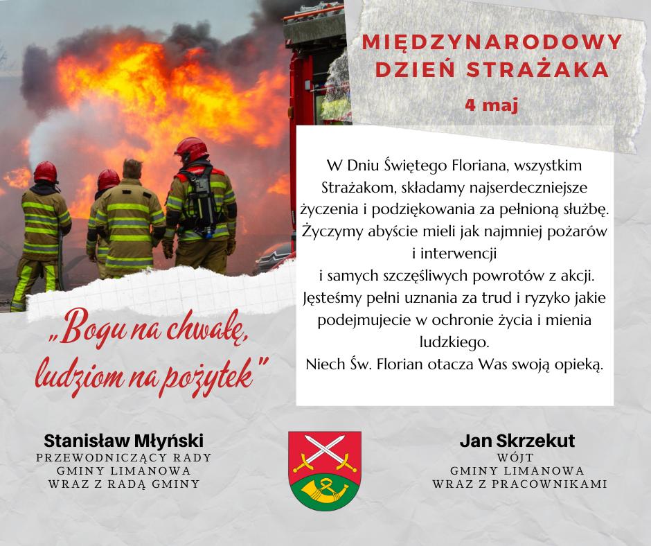 Życzenia z okazji Międzynarodowego Dnia Strażaka - zdjęcie główne